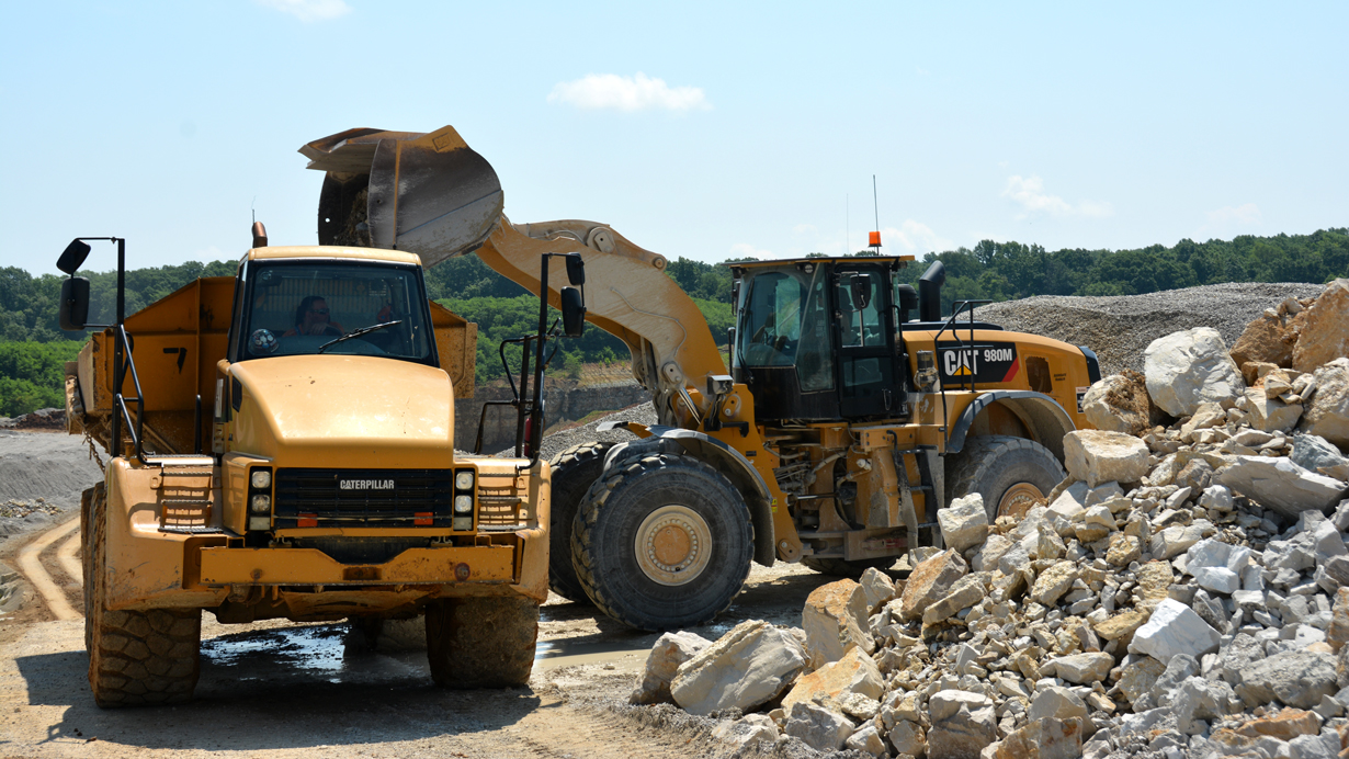 Equipment working at Lin Grove quarry