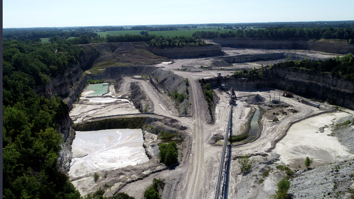 Drone footage of Columbus Stone Quarry