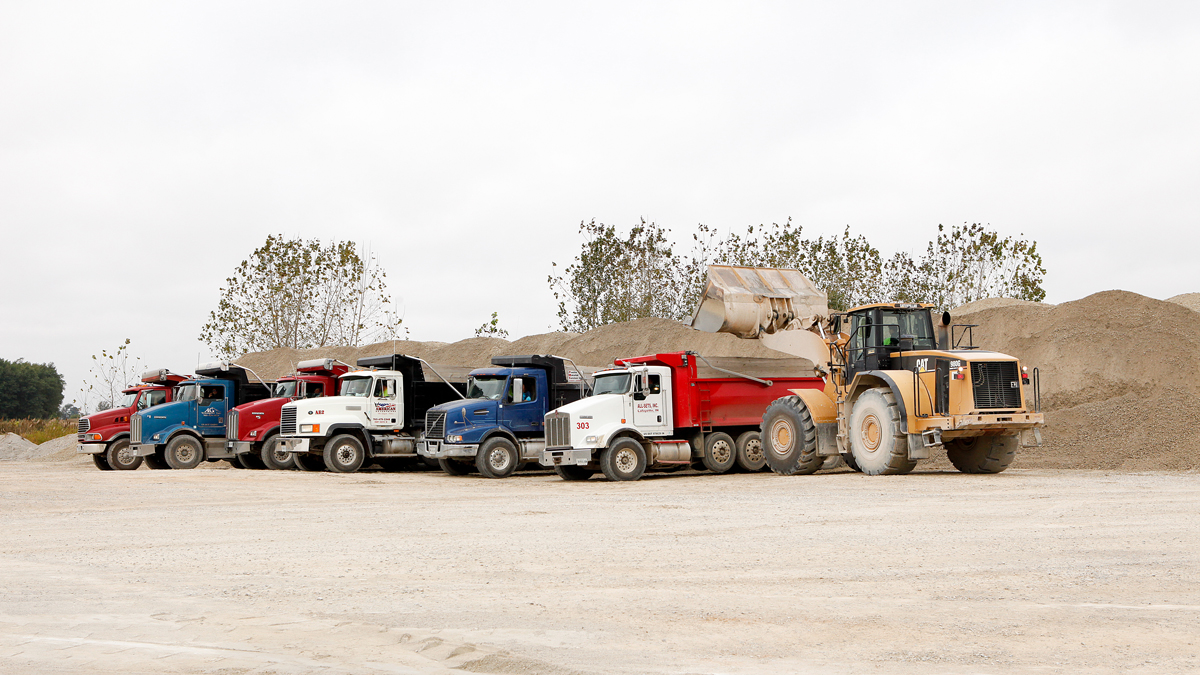 Loading trucks at the Monon Stone Quarry