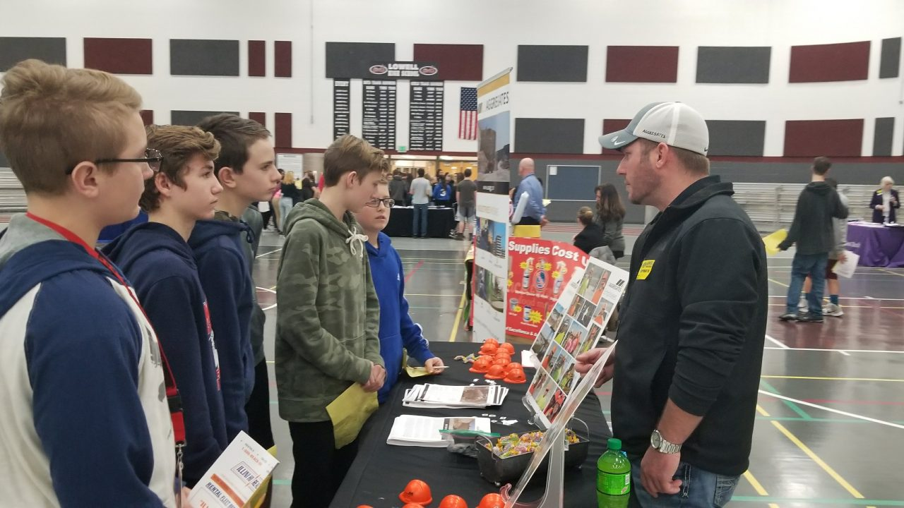lowell county career fair talking with kids